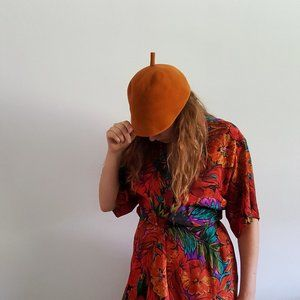 1950's Burnt Orange Felt Wool Hat